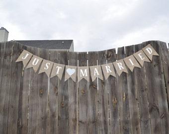Rustic Wedding Banner-JUST MARRIED Burlap Bunting Banner- Photo Prop- Reception Banner- Vintage Wedding- Custom Wedding Banner