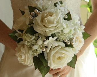 White Wedding Bouquet, Roses, Pearls, Stephanotis, Winter Wedding, Summer Wedding, Spring Wedding
