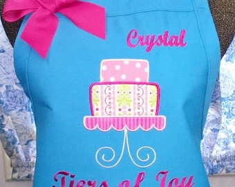 Cake Apron Turquoise Personalized Fabric Applique Monogrammed Gift