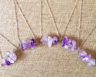 Raw Amethyst Necklace Necklace - Wedding Jewelry - Bridesmaids Jewelry - Bridal Jewelry