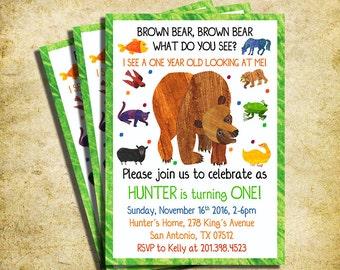 Brown Bear Birthday Invitation - Brown Bear Birthday Party Invite  - Printable And Digital File