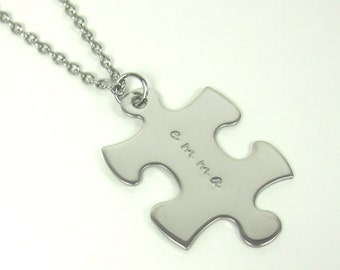 Autism Awareness Personalized Autism Name Necklace Custom Autism Puzzle Piece Name Necklace Mommy Necklace