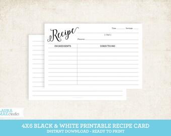 Black & White 4x6 Printable Recipe Card