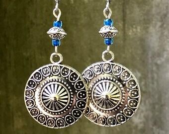 Blue Earrings, Bohemian Earrings, Silver Earrings, Rustic Earrings, Boho Jewelry, Mandala Earrings, Ethnic Earrings