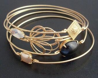 Before the Dawn - Stacking Bangle Bracelet Set, Black, Gray, & Gold Bangle Set, Gold Bracelet Set, Stackable Bracelets, Bracelet Stack