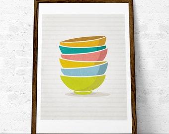 Kitchen print. Stacked bowls. Kitchen art. Stack of bowls. Kitchen poster. Kitchen decor