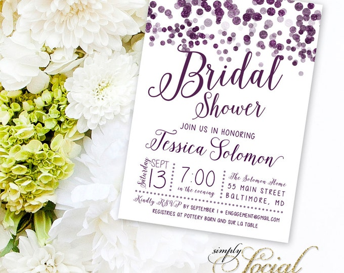 Purple Bridal Shower Invitation - Glitter Purple Confetti Bridal Shower Invitation - Glitter Glam Printable Personalized Custom
