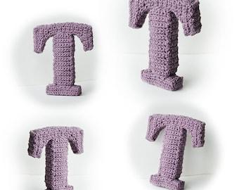 Letter T Crochet Pattern, 3D Alphabet crochet pattern, 3d words pattern, 3d letters pattern, words home deco, decorative letters crochet