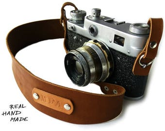 Mothers day gift Custom Camera Strap Leather Personalized Gift Men Women Handmade Personalized Gift Photographer SLR DSLR Camera Strap Brown