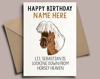 Li'l Sebastian Personalised Birthday Card - Parks and Rec Recreation, Ron Swanson. Lil