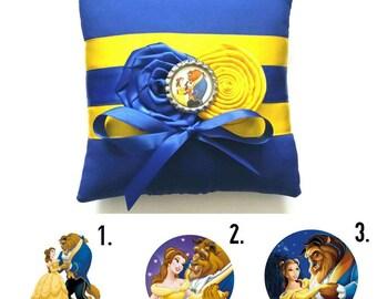 Belleza y la bestia anillo de bodas almohada - (6 x 6 pulgadas almohada)-tu elección de adorno