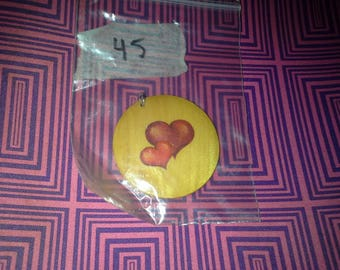 valentine hearts 45 mm wooden pendant necklace