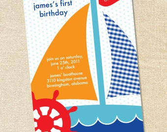 Sweet Wishes Preppy Sailboat Birthday Party Invitations - PRINTED - Digital File Also Available