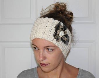 Cream Wool Ear Warmer