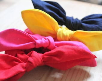 Childrens Bunny Scrunchie: yellow, navy, pink, red