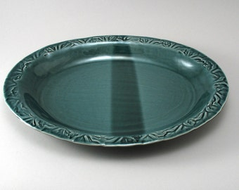 Oval Platter-Pottery Plate-Tableware-Stoneware Server-Ceramic Tray-Textured Leaf Pattern-Rich Glossy Peacock Blue Green Glaze-Ready to Ship