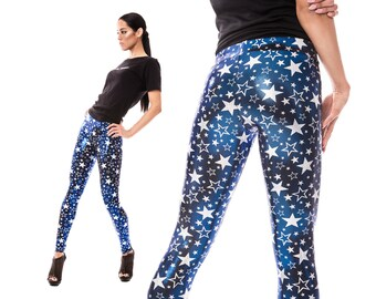 Starry Leggings in Blue, Stars, Burning Man Leggings, Metallic Leggings, Dancewear, Aerial Silks, Costume Leggings, EDM Wear, by LENA QUIST