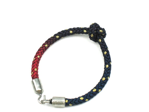 Rope Bracelet in Red and Blue with Knotted Mokuba Cord and Steel Grey Hook Clasp / Womens Gift / Gift for Her by elle and belle