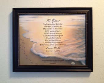 70th Religious Birthday Gift Framed Print 1948 Milestone Gift 70th Keepsake Gift for Mom Dad Grandma Grandpa Footprints in the Sand