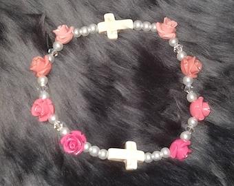 White Cross Gothic Lolita Rose Stretch Bracelet