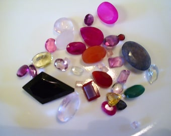 Mixed lot of faceted gemstones - all shown - 4mm to 33mm natural stones (some are dyed)  about 150 ct  Faceted Lot #2