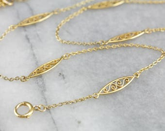 Yellow Gold Lariat Necklace, Lariat Chain, Filigree Chain, Pendant Chain 0LC73PUZ-D