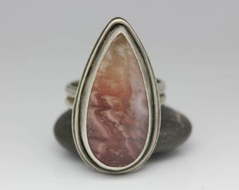 Pink Agate Ring Agate & Sterling Unique Gemstone Pink Peach White Unisex Statement Ring Size 8.75