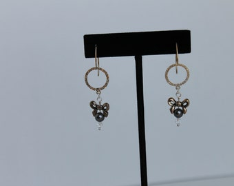 Swarovski Pearl and Crystal and Sterling Silver Earrings with Pewter Bow One Of A Kind