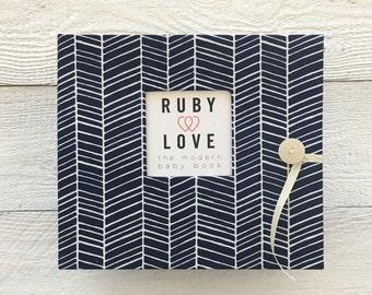BABY BOOK | Navy Herringbone Stripe Album