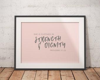 Proverbs 31:25 - Pastel Bible Print - Digital Download