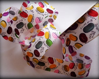 "Jelly Bean Cotton Ribbon Trim, Multi, 1 3/8"" inch wide, 1 yard, For Gift Packing, Wreaths, Home Decor, Party, Children Crafts"