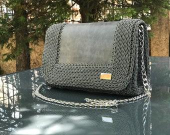Grey real leather crochet bag