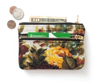 Wallet Coin Purse Double Zipper Pouch Floral Linen
