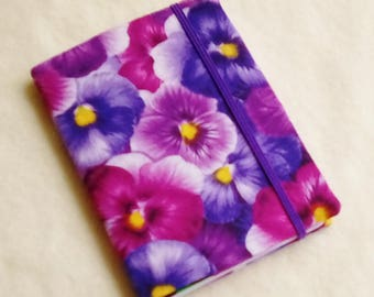 Fabric Covered Pocket Memo Book, BIG PANSIES, Refillable Mini Composition Notebook Cover