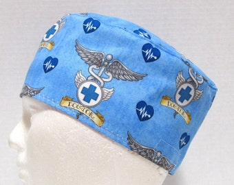 Mens Scrub Hat or Surgical Cap with Doctor Logo