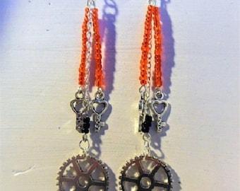 Key and gear steampunk earrings beads
