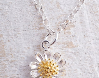 Sterling Silver 925 daisy flower charm necklace with gold plated centre