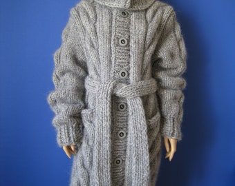 Made to Order ! New hand knitted Gray mohair+alpaca 5 strands  thick long cardigan coat  size L