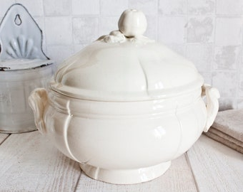 Antique French DIGOIN SARREGUEMINES Ironstone Bowl Tureen || Vintage White Tureen - Country Chic - French Cottage Shabby Chic Decor