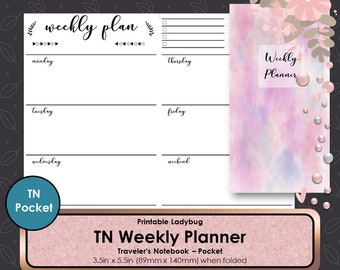 Pocket Weekly TN Inserts,Weekly Travelers Notebook,Weekly Inserts,Weekly Planner,Weekly Journal,Bullet Journal,Travelers Notebook Inserts,TN