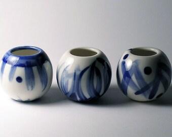 Mini White Porcelain Vases - Blue Variety Set