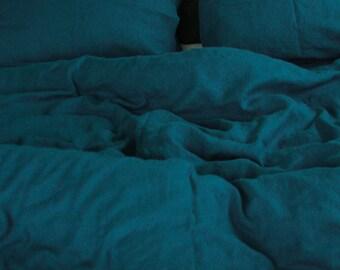 Sea Blue Duvet Cover/Queen Duvet Cover/Natural Linen/Linen Duvet Cover/Softened Linen