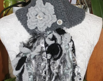 hand knitted cowl, fantasy, gray