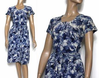 Vintage 1940s Dress// Blue// White// Silk// Watercolor//House Dress // 40s Dress//