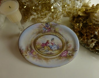 Royal Vienna Ladies & Gentelmen Porcelain Dollhouse Miniature Tray in 1:12 Scale