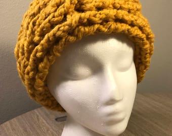Chunky Crochet Earwarmer Headband - Mustard Yellow