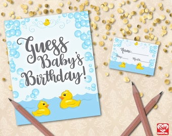 Guess Baby's Birthday,Guess the Due Date,Rubber Duck Baby Shower Game Printable,Duck Baby Shower, Rubber Ducky, 8x10 Instant Download, JPG