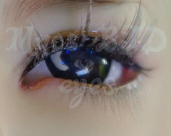Blue night sky 16mm bjd eyes with moon detail