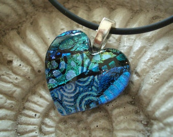 Cobalt Love Fused Dichroic Glass Heart Pendant 013008p101