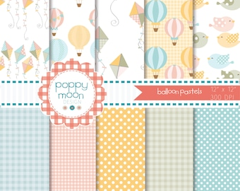 Hot air balloon and kite pastel pink yellow, blue and green, Digital Paper Pack